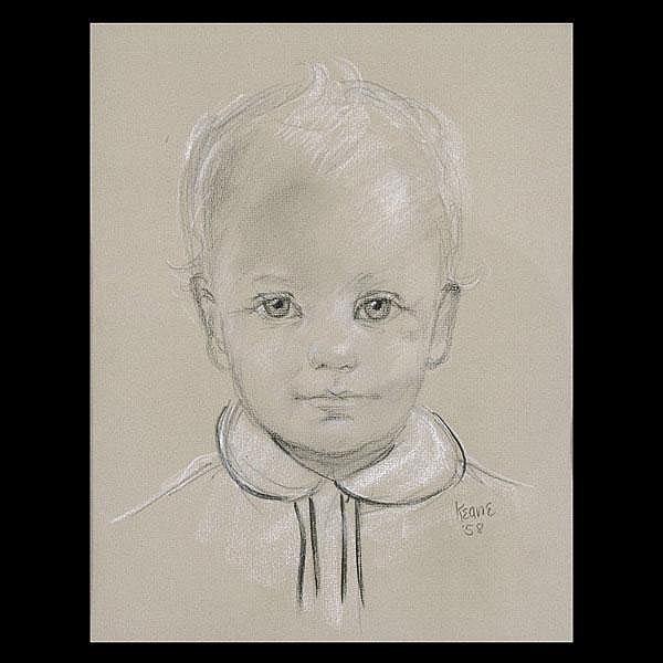 Margret Keane, Charcoal and Chalk Portrait