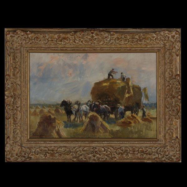 Raymond Lecourt, French Art, Haystacks Oil