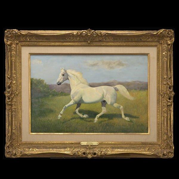 George Morris, American Art, White Horse Oil