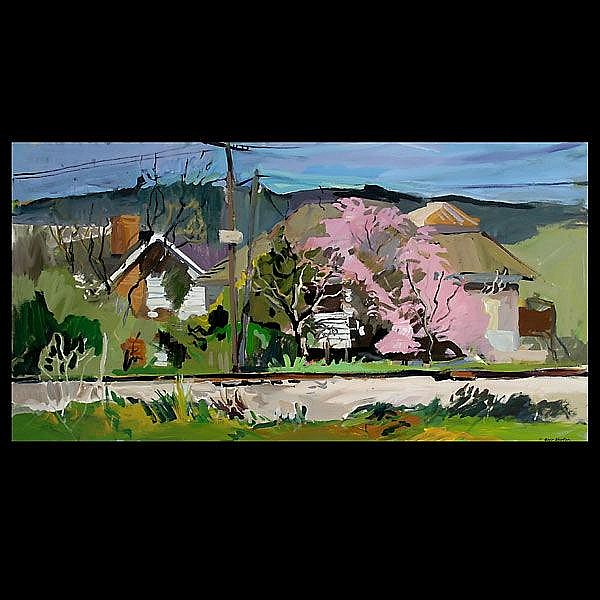 Geer Morton. House with Pink Bush.