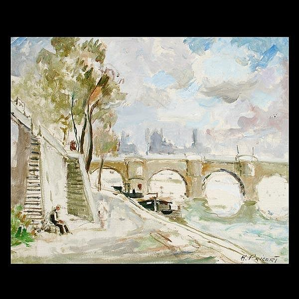 Pricert oil painting, View of Paris