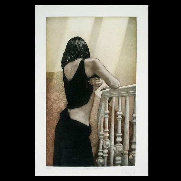 Willi Kissmer. Framed color aquatinte,