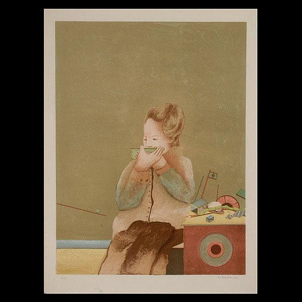 Elie Abrahami, Lithograph Figure with Toys