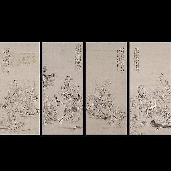 Four Chinese Hanging Scrolls of The Eighteen Luohan