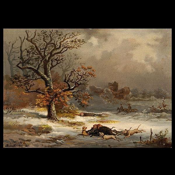 Charles Prosch, Miniature oil, Boar Hunt
