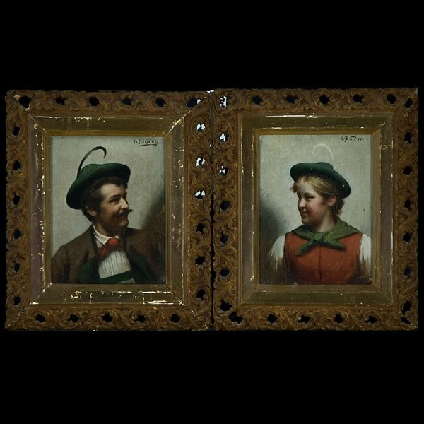 German Portrait Art, Binder, Oil, A Pair