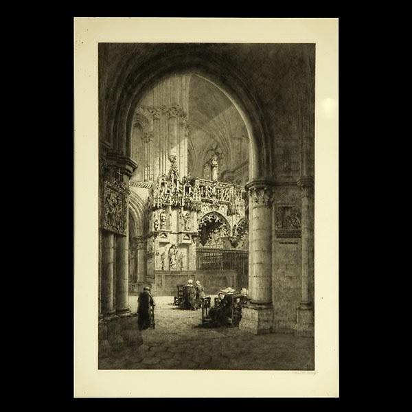 Axel Haig, British Art Etching Church Interior 1904