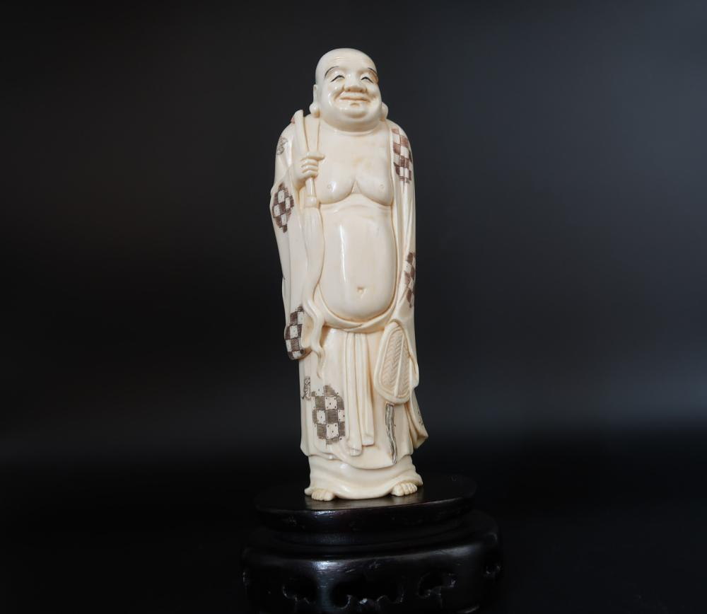 Traveling Monk  Antique Ivory Figurine Carved