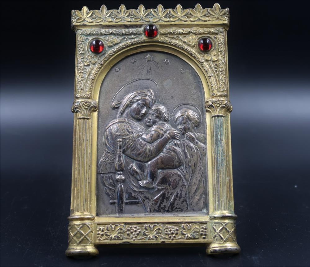 Mother of God Feodorovaskaya, Standing Plaque Elaborate Frame w/ Cabochon Stone.