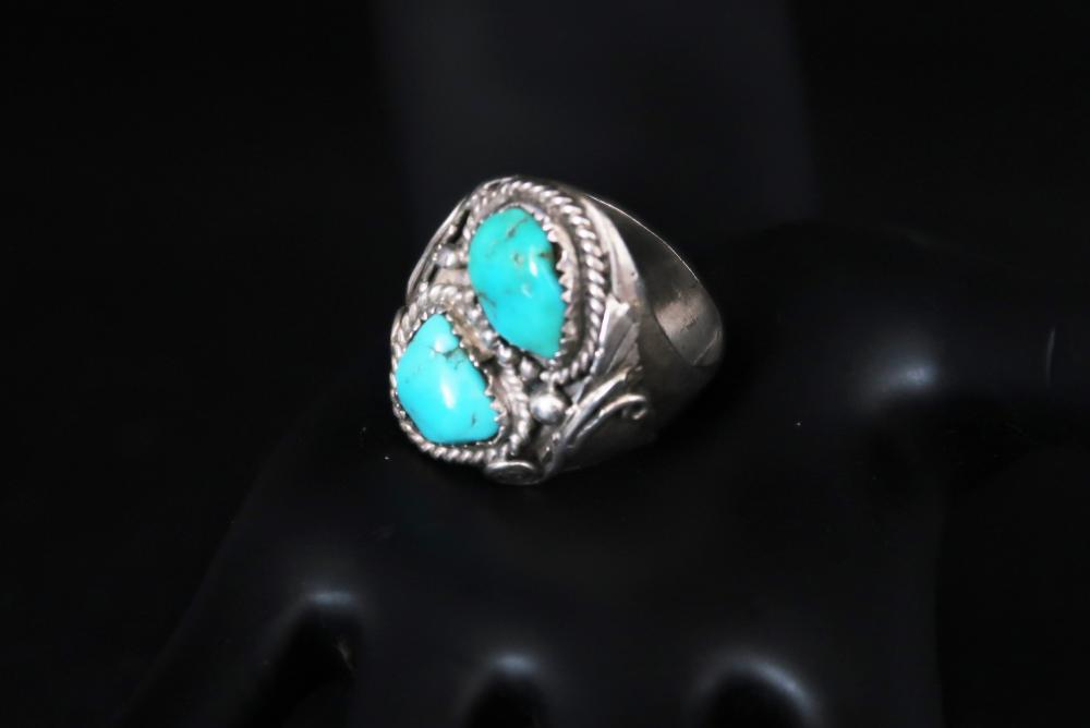Genuine Turquoise Twin Stone Ring