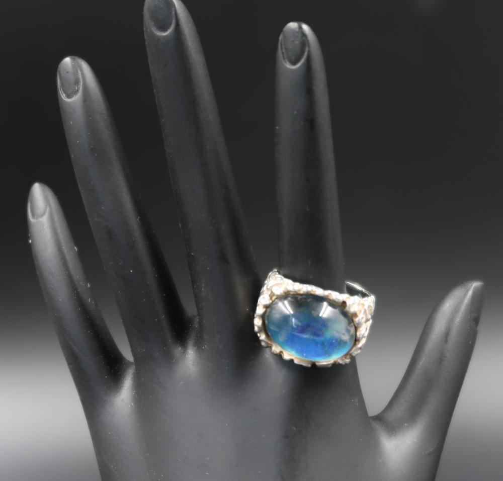 Blue  Apatite Cabochon Sterling Silver Ring