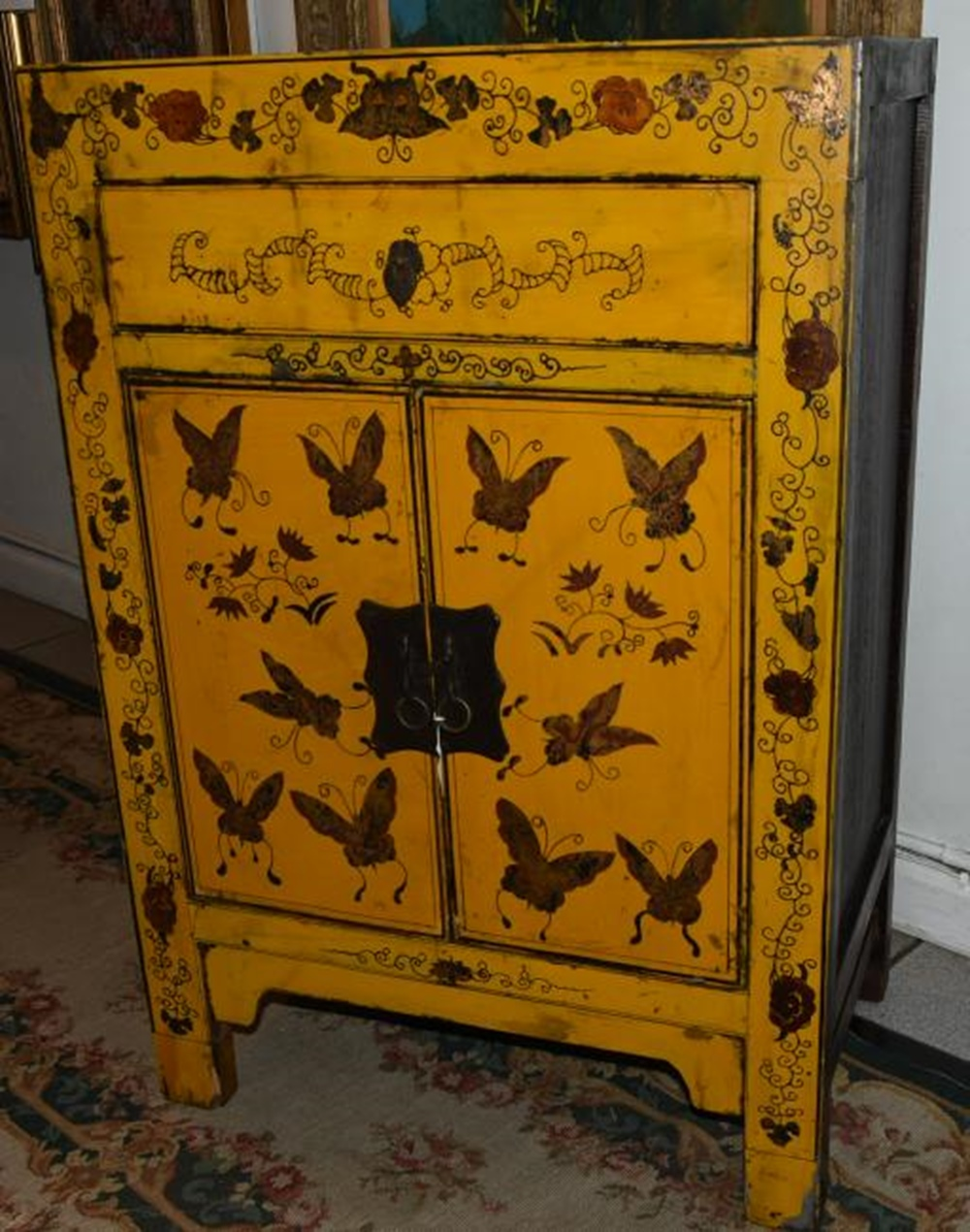 Hand-painted Antique Country French Cabinet