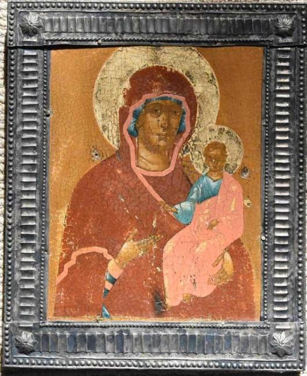 18th Century Russian Icon Silver Frame on Wood