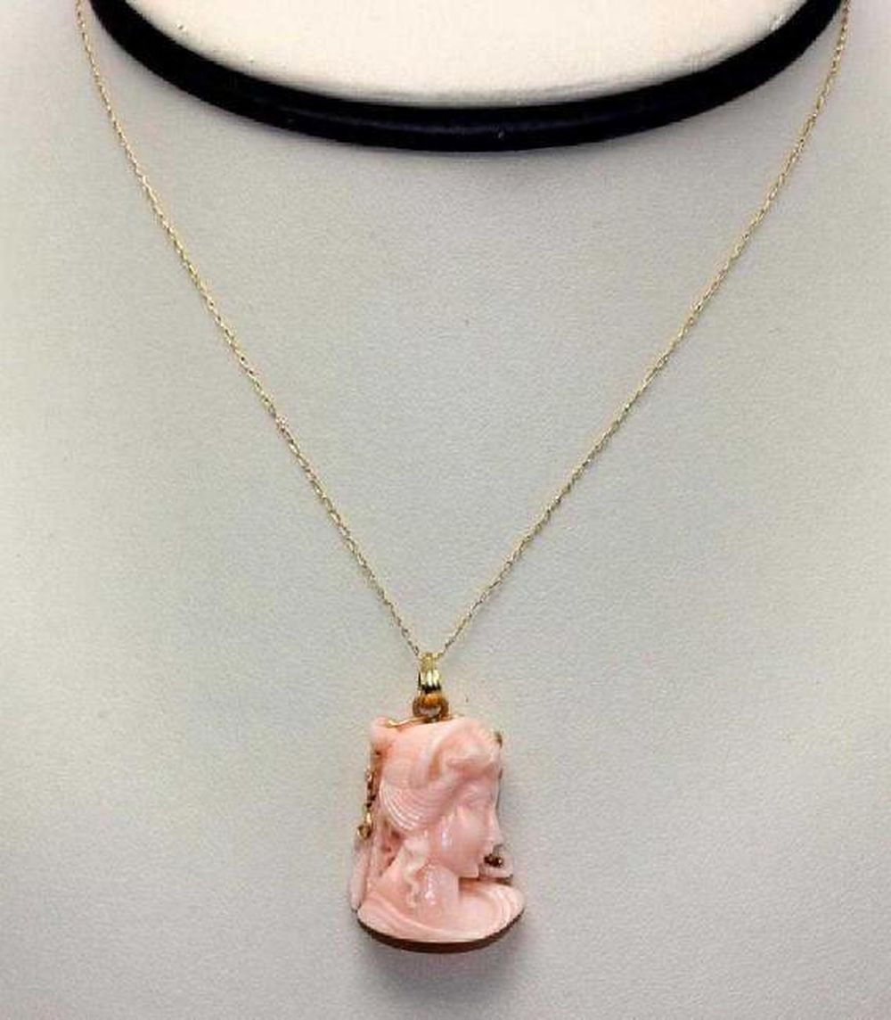 14K Yellow Gold Mounted Carved Coral Bust Pendant