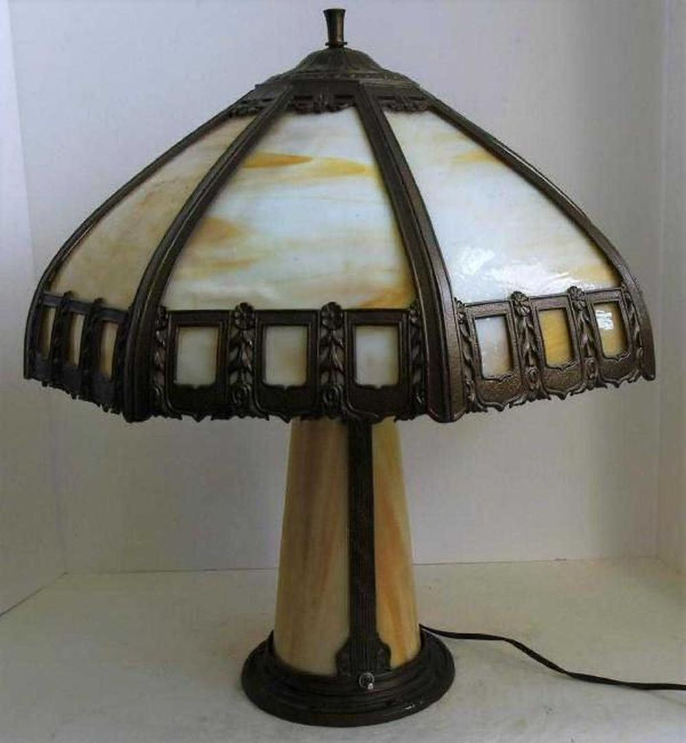 Vintage Slag Glass Lamp from 1930s