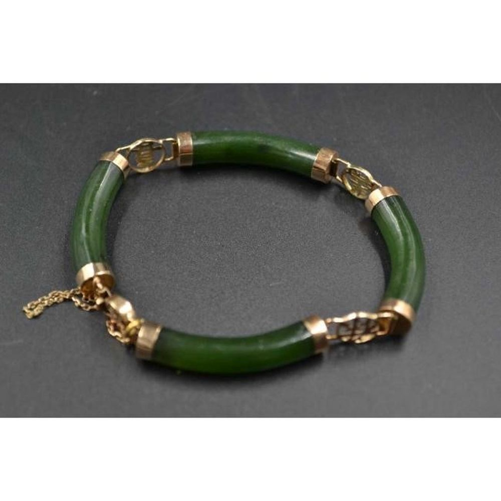 14K Gold and Dark Green Jade Bracelet Bangle W/Clasp