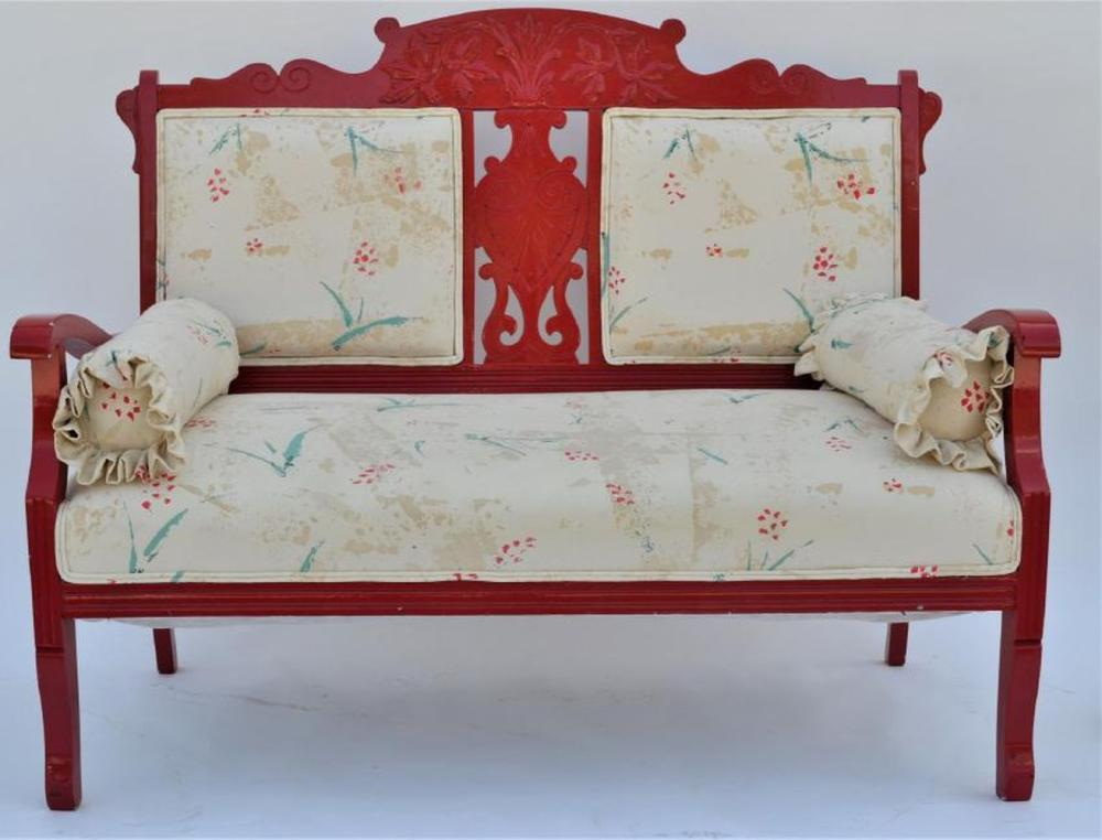 Red Lacquered Settee with Cushion & (3) Pillows