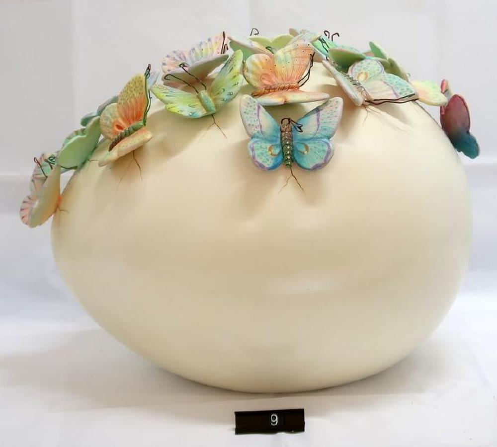 Sergio Bustamante (Mexican, b.1942-) Ceramic Butterfly Egg