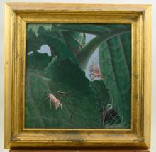 Leaves and bugs oil painting