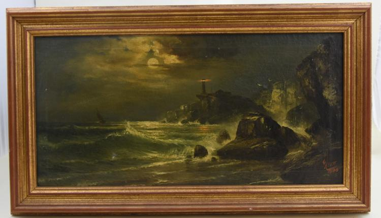 Seascape with lighthouse oil on canvas