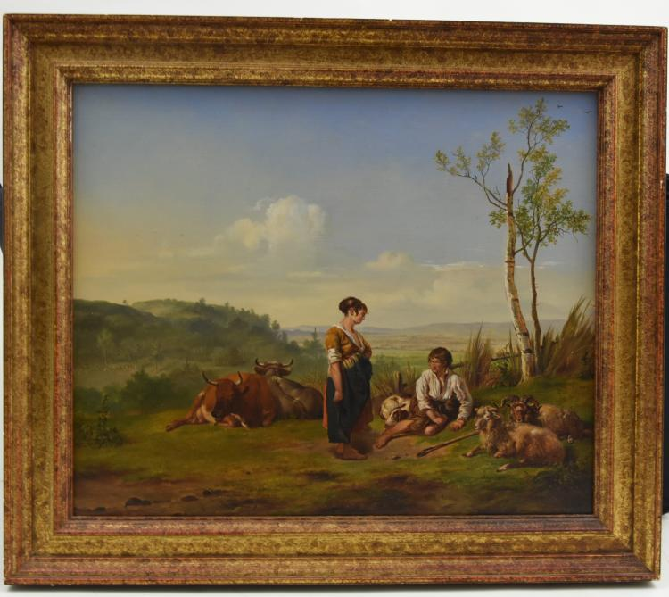 Landscape and cattle oil painting