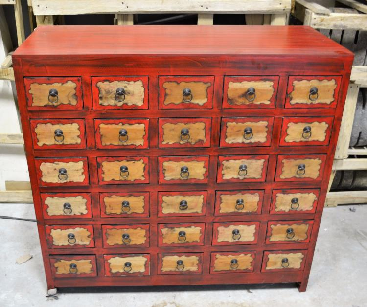 Red tea chest