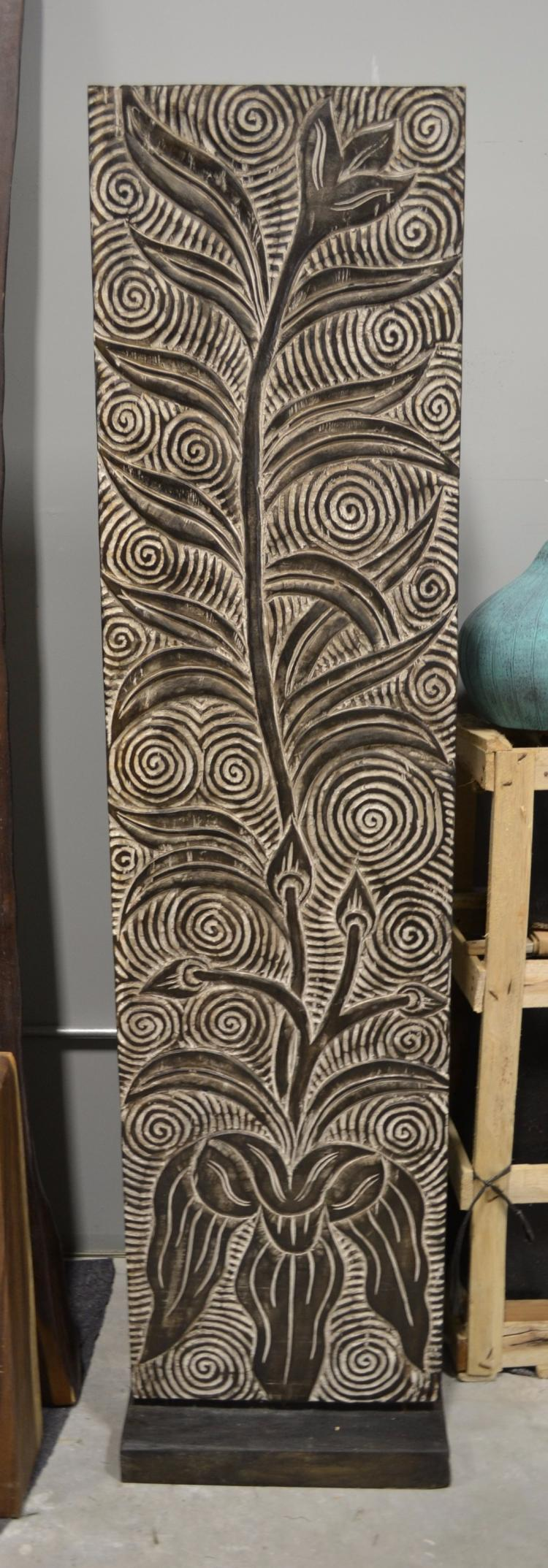 (3) Hand carved timber wood panels