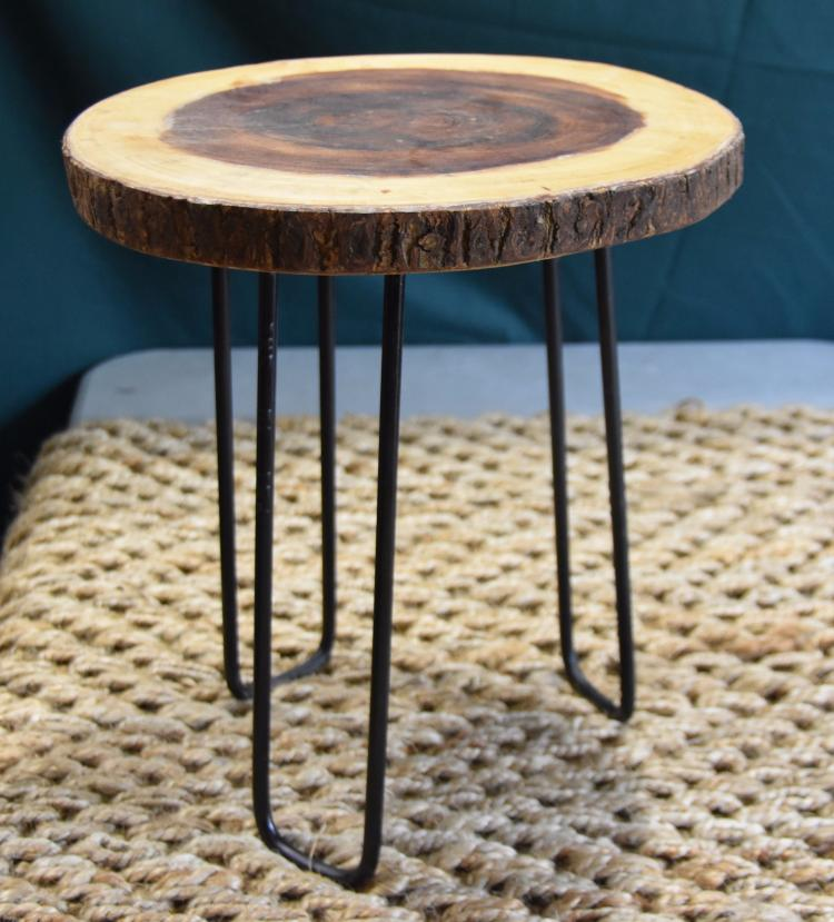 Sliced teak side table
