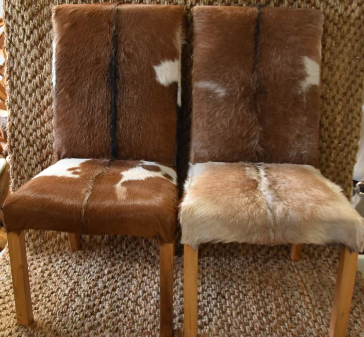 (2)Goat hide chairs