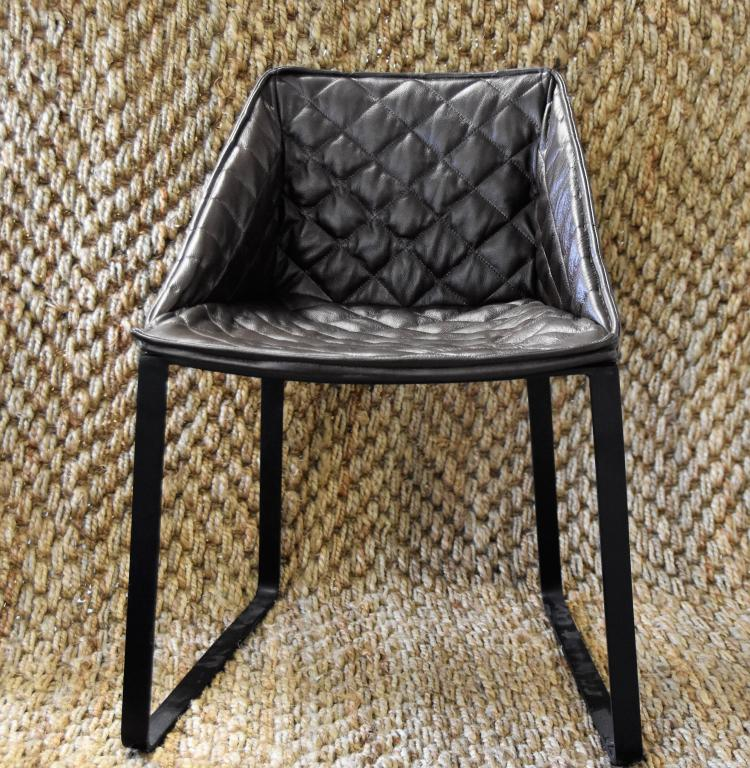 (2)Diamond stiched brown chairs