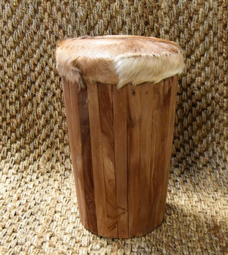Tapered goat hide stool