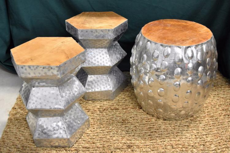 Silver mediterranean side table set of 3
