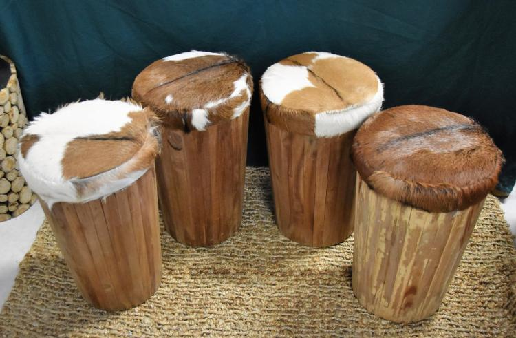 (4)Tapered goat hide stools