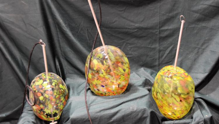 Three hand blown hanging lights