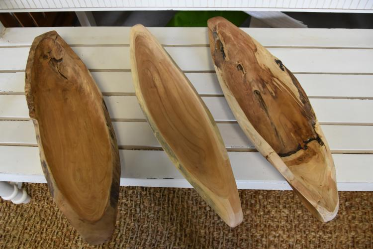 (3) teak scoops with handles