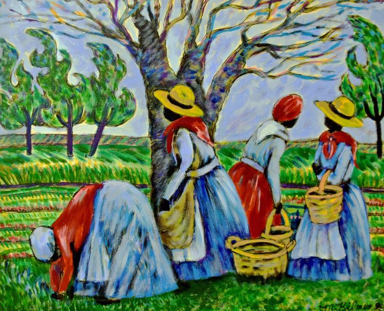 Lady field workers painting
