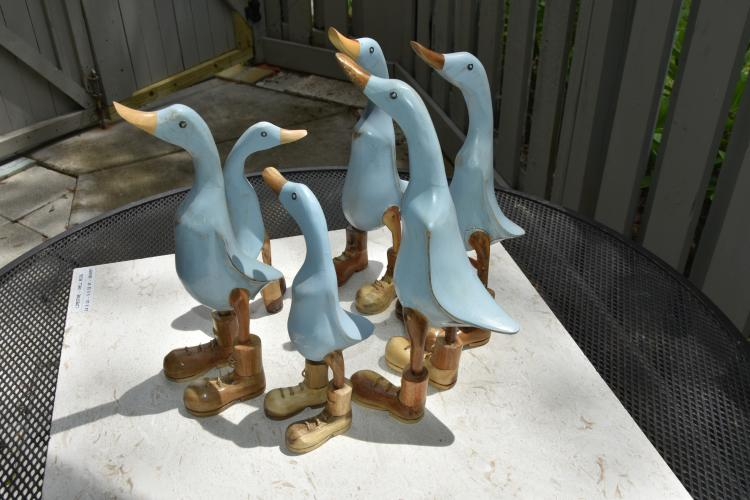 (6) wooden ducks with boots