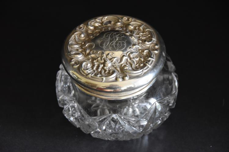 Nouveau powder jar with sterling top and cut glass base