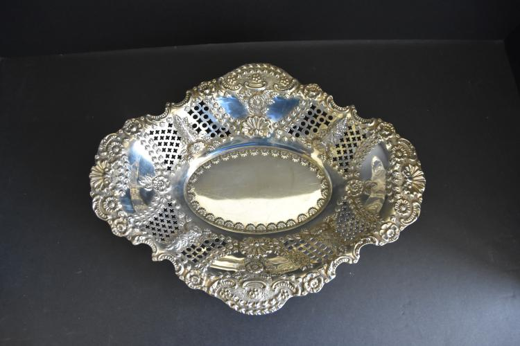 English sterling silver repousse bowl