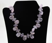 Rock crystal necklace with vintage silver clasp