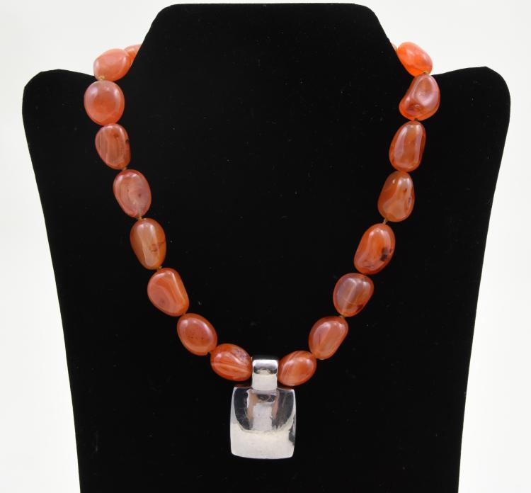 Carnelian agate necklace with silver pendant
