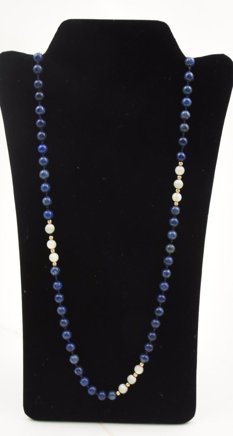 lapis and white stone 14k gold necklace