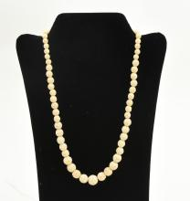 Ivory carved bead necklace