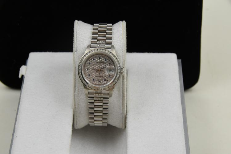 Ladies rolex date just crown collection watch