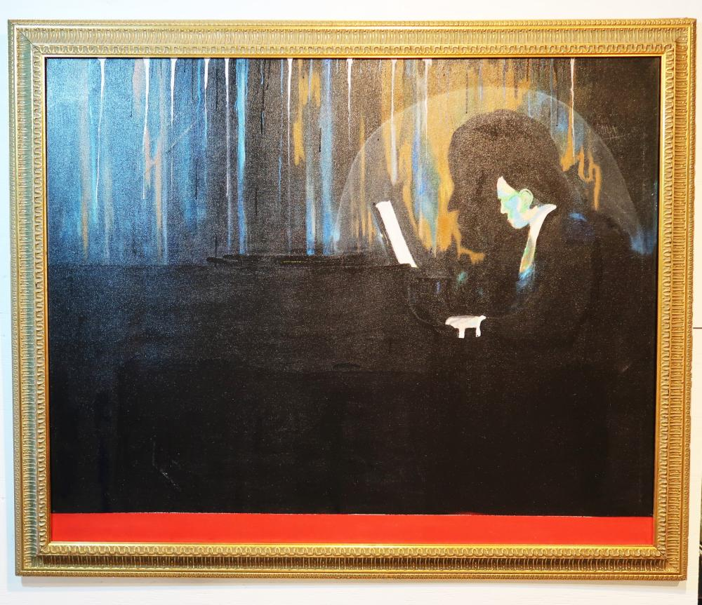 THE CONCERT PIANIST OIL ON CANVASE GOLD LEAF GALLERY FRAMING