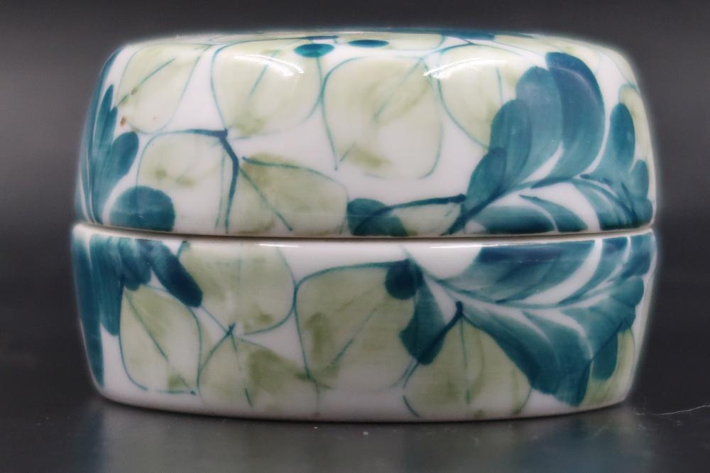READ & BARTON ANTIQUE TRICK BOX MATCHED LID TO BASE BLUE CREAM