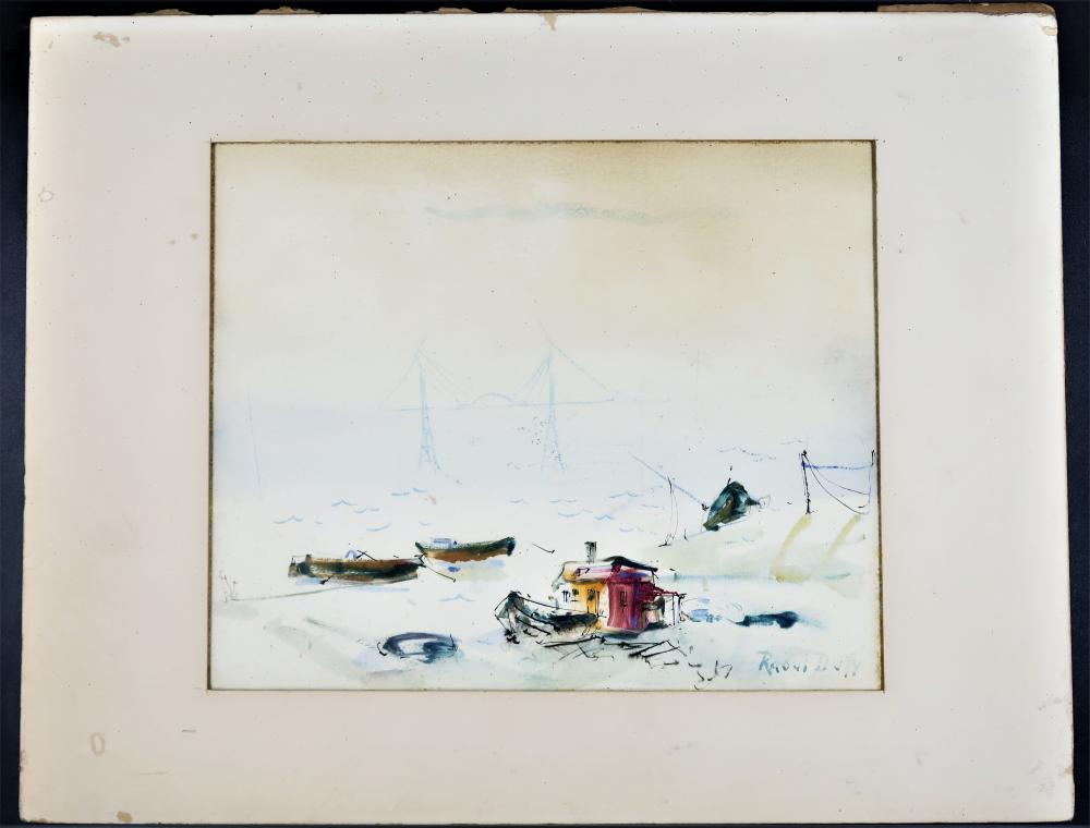 BY RAOUL DUFY BEACH SHORE PAINTING ORIGINAL INK AND WATERCOLOR