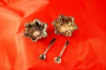 Sterling silver salt and pepper dishes