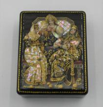 Russian black Lacquer Box Hand signed