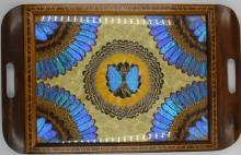 Butterfly wing Mid Century inlaid serving tray